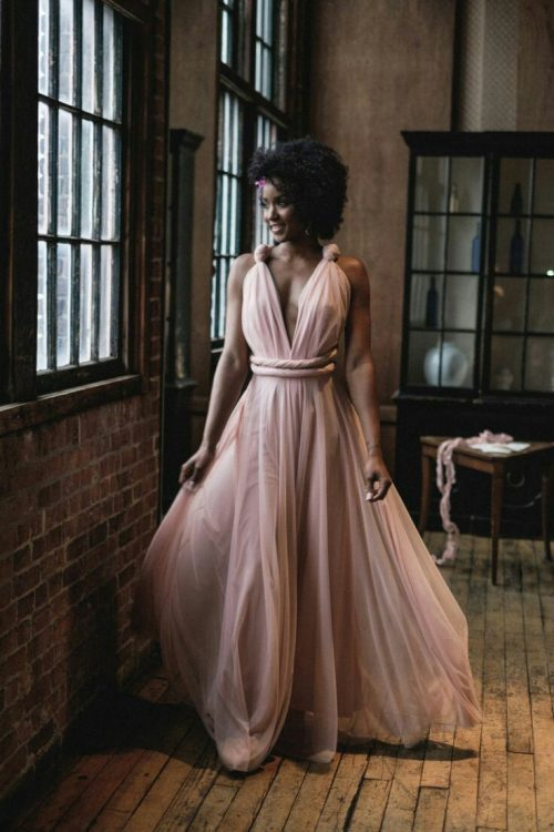 Soft Blush Multiway Dress with full flared skirt and Soft Blush Pink Tulle