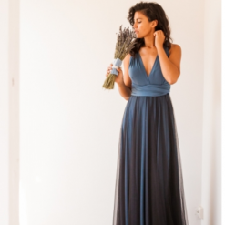 Dusty Blue and Navy Tulle Multiway Dress with full flared skirt and Dusty Blue and Navy Tulle