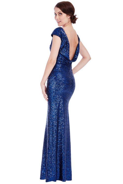 cowl back sequin dress