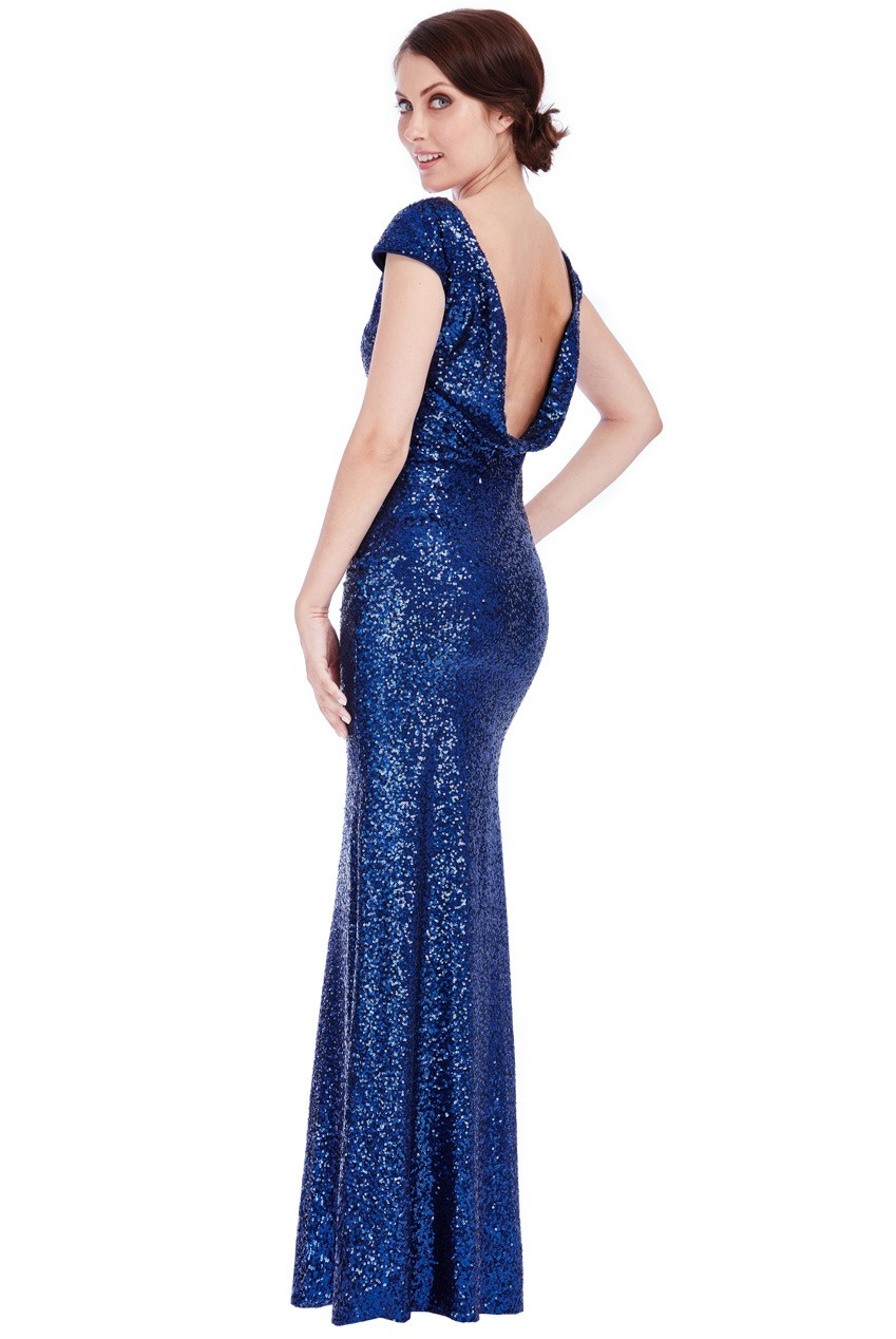 Cowl Back Sequin Dress Maxi Navy Sequin Dress Presley Blue