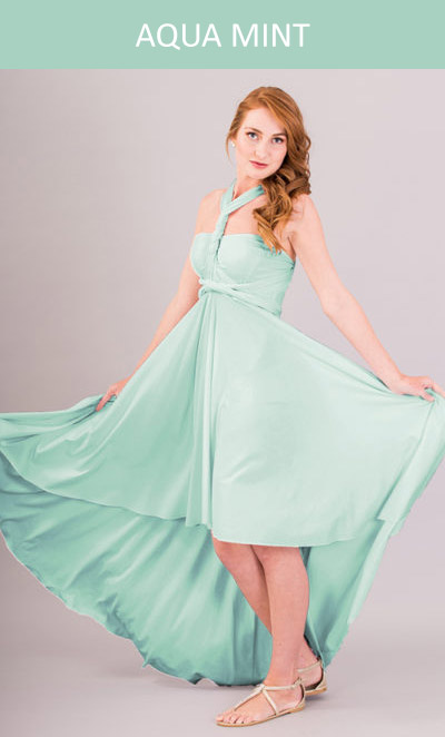 Cascading Infinity Dress in Aqua Mint