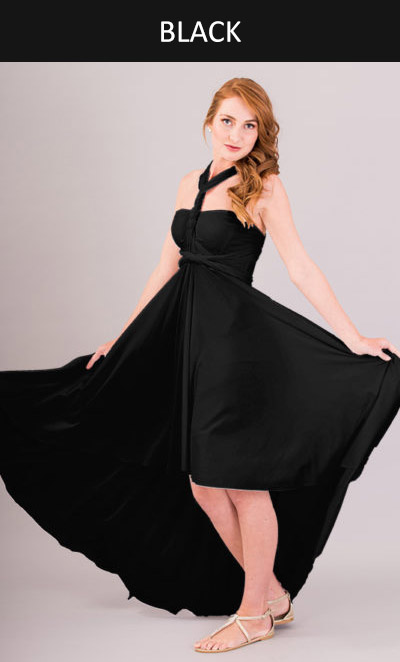 Cascading Infinity Dress in Black