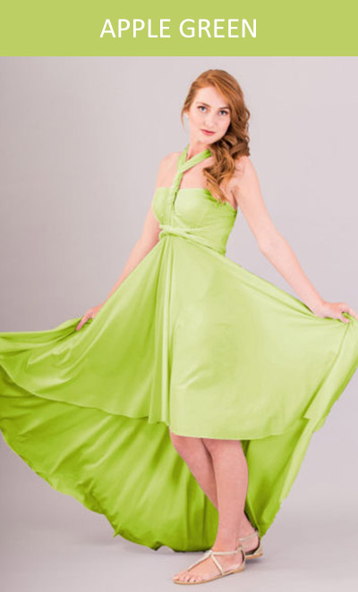Cascading Infinity Dress in Apple Green
