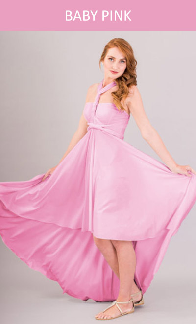 Cascading Infinity Dress in Baby Pink