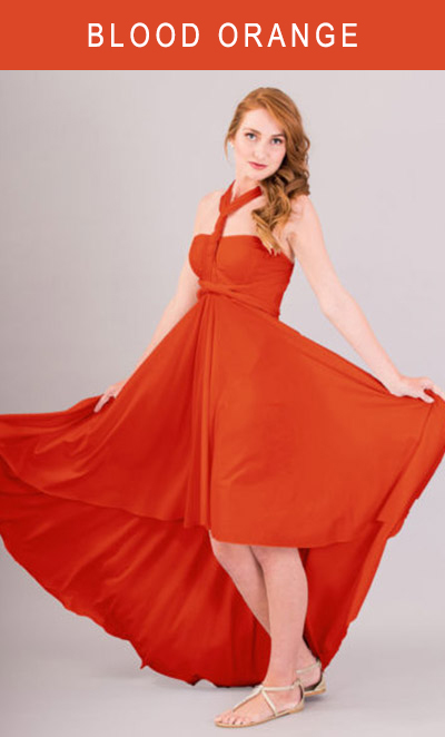Cascading Infinity Dress in Blood Orange