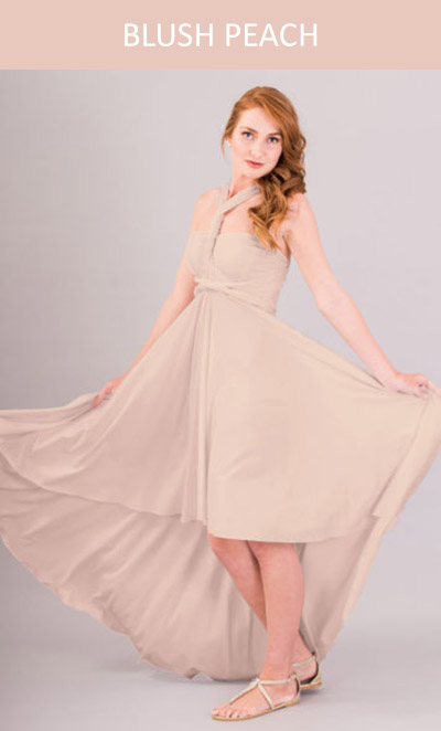 Cascading Infinity Dress in Blush Peach