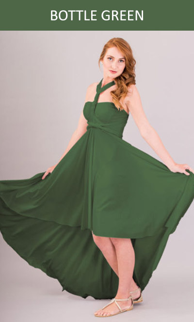 Cascading Infinity Dress in Bottle Green