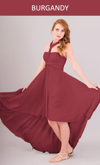 Cascading Infinity Dress in Burgundy