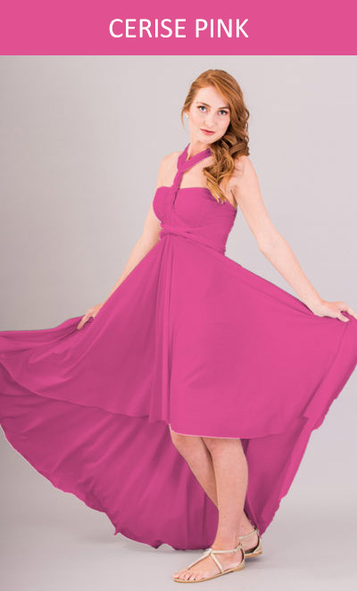 Cascading Infinity Dress in Cerise Pink