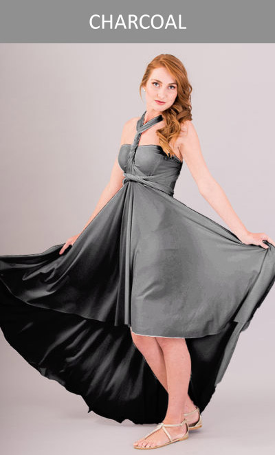 Cascading Infinity Dress Charcoal