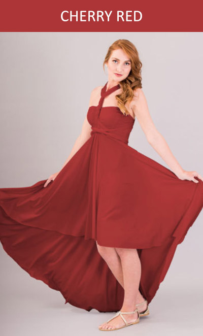 Cascading Infinity Dress Cherry Red
