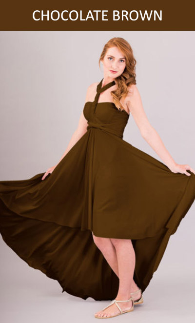 Cascading Infinity Dress in Chocolate Brown