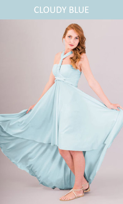 Cascading Infinity Dress in Cloudy Blue