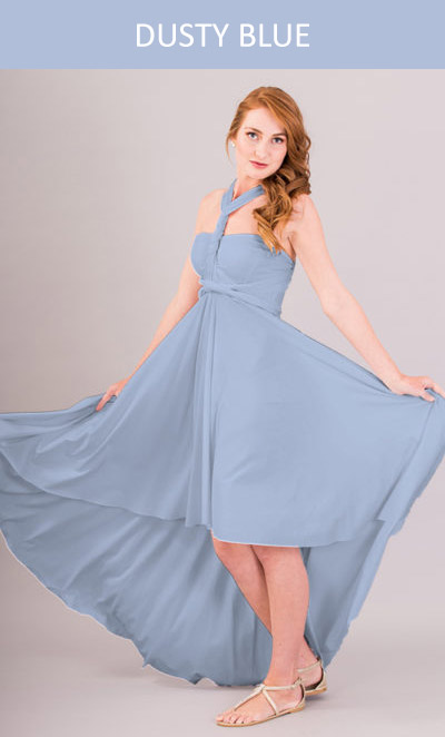 Cascading Infinity Dress Dusty Blue