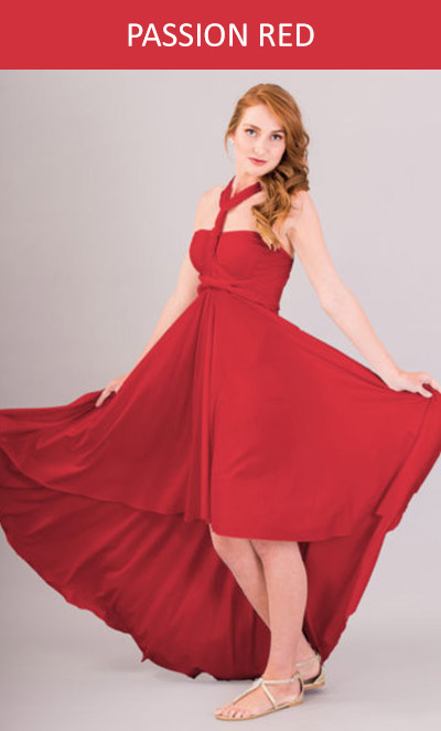 Cascading Infinity Dress in Passion Red