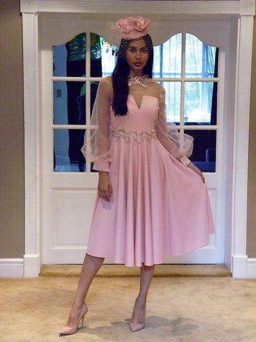 embellished dress with sheer mesh sleeves
