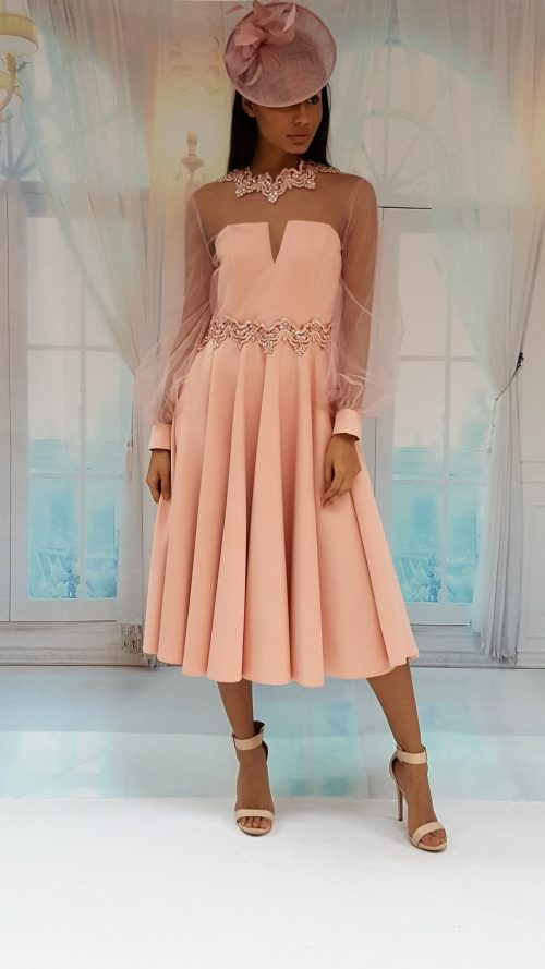 www.presleyblue.ie stunning embellished occasion dress with mesh sleeves