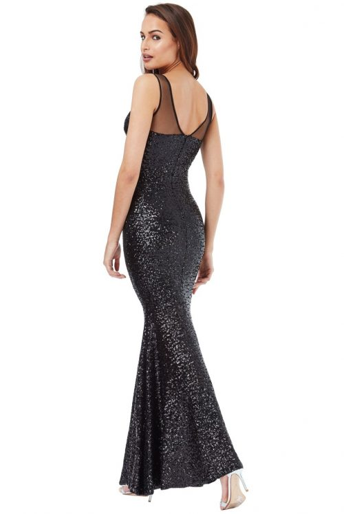 Black sequin maxi dress fishtail skirt www.presleyblue.ie