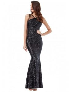 black sequin maxi dress fishtail skirt