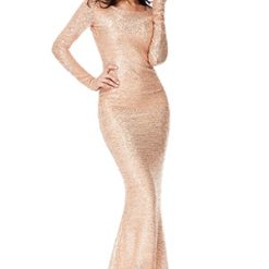 Sexy Sequin Open back maxi dress in champagne