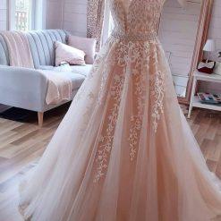 Applique V Neck Wedding Dress