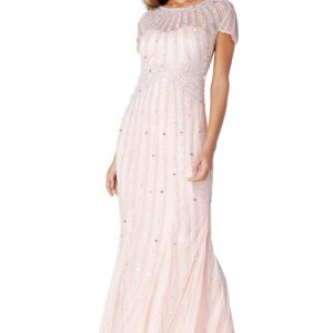 Blush embellished maxi dress
