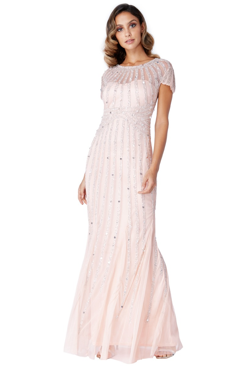 b3521c194b8 Blush Embellished Maxi dress Bridesmaids New Years Eve Ball TY