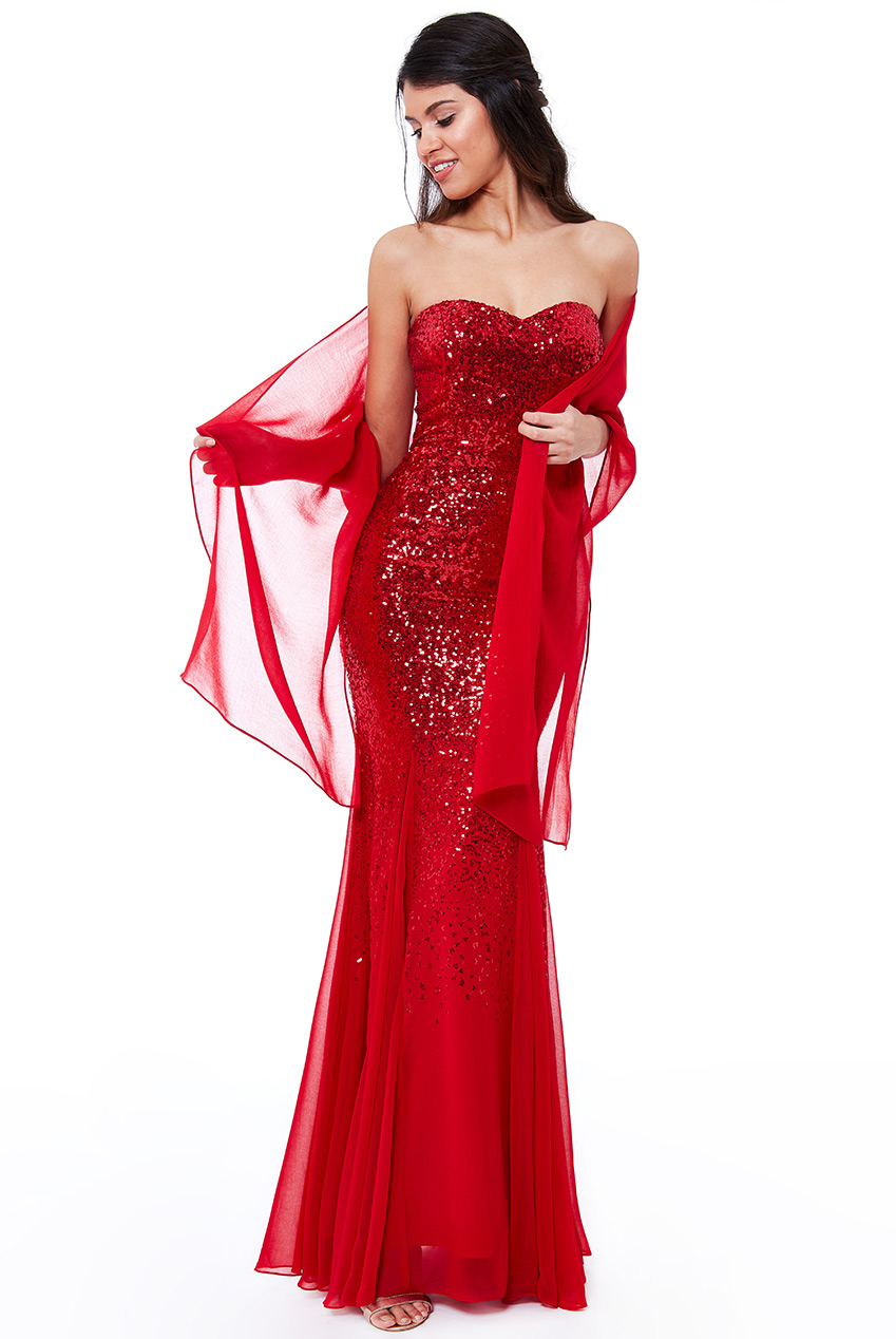 a65247c550c3 Red Sequin and Chiffon Cocktail Dress – Curve Dress Collection
