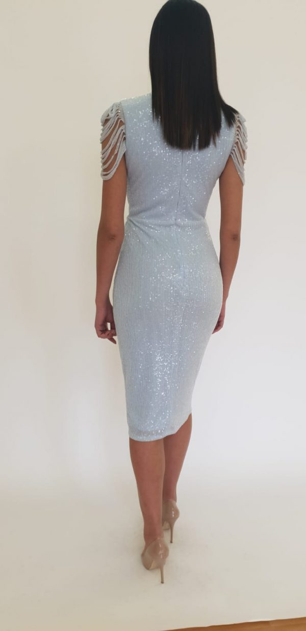 Sequin Ice Blue Midi Dress www.presleyblue.ie