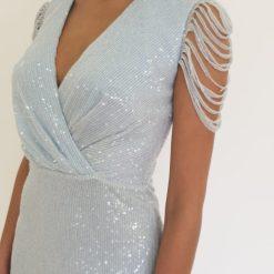Priscilla ice blue sequin midi dress