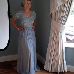 bridesmaid dress short sleeved embellished Maxi Dress