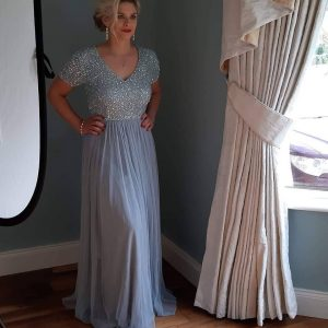 bridesmaid dress short sleeved embellished Maxi Dress
