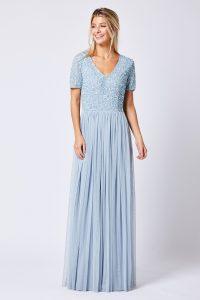 Heather Blue Short sleeved embellished maxi dress