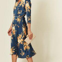 Navy Floral Print satin midi wrap dress