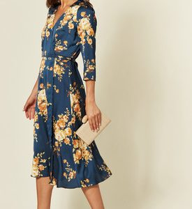 Navy Floral Print satin midi wrap dress