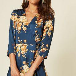 navy floral print satin midi dress