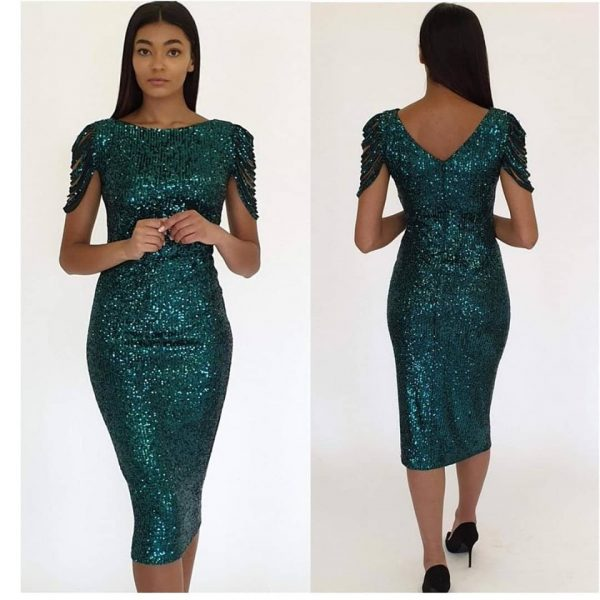 emerald green sequin midi dress