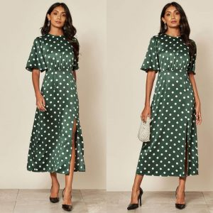 Polka Dot Satin Short Sleeve Midi Dress In Greenpolka dot satin short sleeve midi dress