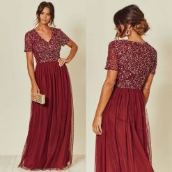 Bridesmaid Maxi dress Burgundy embellished maxi