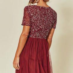 Bridesmaid Maxi dress Burgundy embellished maxi