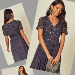 Bridesmaid Maxi dress Gun Metal Grey charcoal embellished maxi