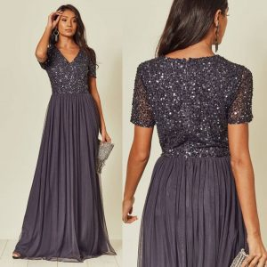 www.presleyblue.ie Bridesmaid Maxi dress Gun Metal Grey charcoal embellished maxi