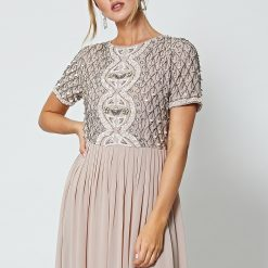Bridesmaid Dress Mink Nude Embellished Maxi Dress www.presleyblue.ie