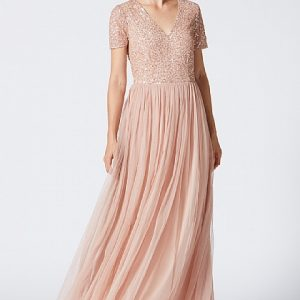 Bridesmaid Maxi dress Champagne Gold embellished maxi www.presleyblue.ie