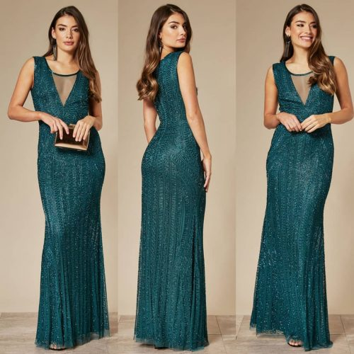 Emerald Green Heavily Embellished Maxi Dress