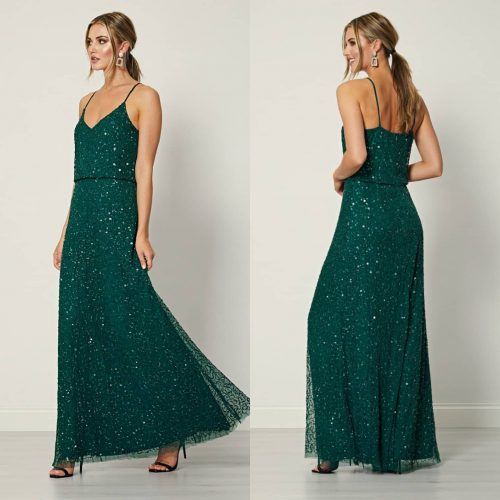 Forest Green Spaghetti Strapped Maxi Dress