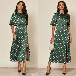 Satin green Polka Dot tea dress