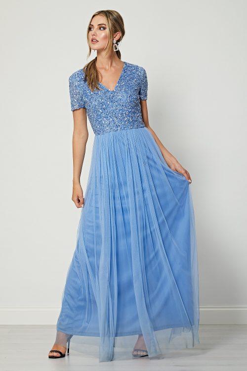 Aqua Blue embellished maxi dress