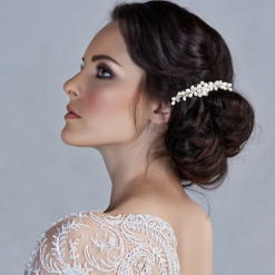 Bridal hair comb ivory pearls crystals beads