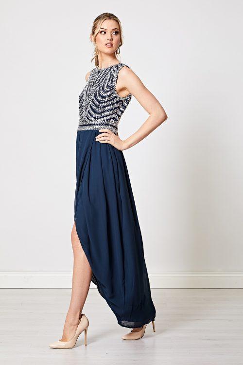 navy silver embellished maxi dress